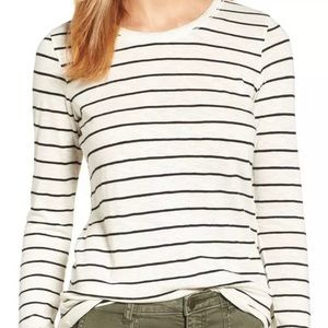 NWT Caslon Long Sleeve Striped Tee Top Size XS